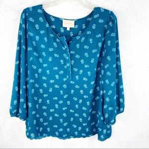 [Skies Are Blue] Blue Floral Blouse